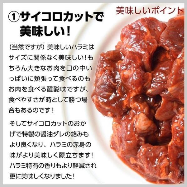 送料無料 500g×2パック!特製醤油甘ダレ仕込!やわらかサイコロ 牛ハラミ メガ盛り1キロ 便利な小分け包装 食品 牛肉 焼き肉 バーベキュー bbq|niku-donya|05