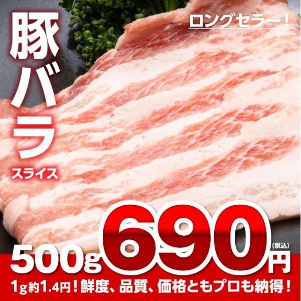 【超特価】プロ御用達!豚バラ スライス【500g】[ ビタミンB1 / 夏バテ / 疲労回復 / おかず / お弁当 / ストック / 買い置き ]|niku-donya