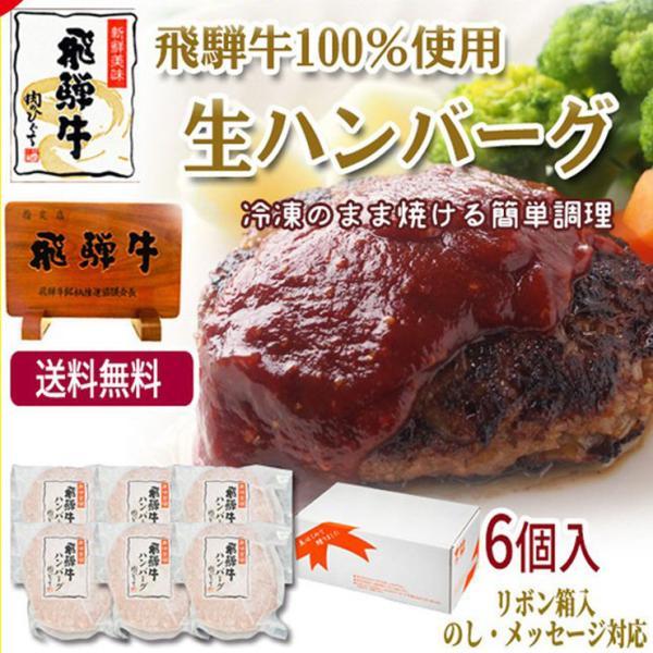 牛肉 和牛 惣菜 ギフト 飛騨牛 肉 生ハンバーグ 120g×6個 まとめ買い 御礼 御祝 内祝 nikunohiguchi-yafuu