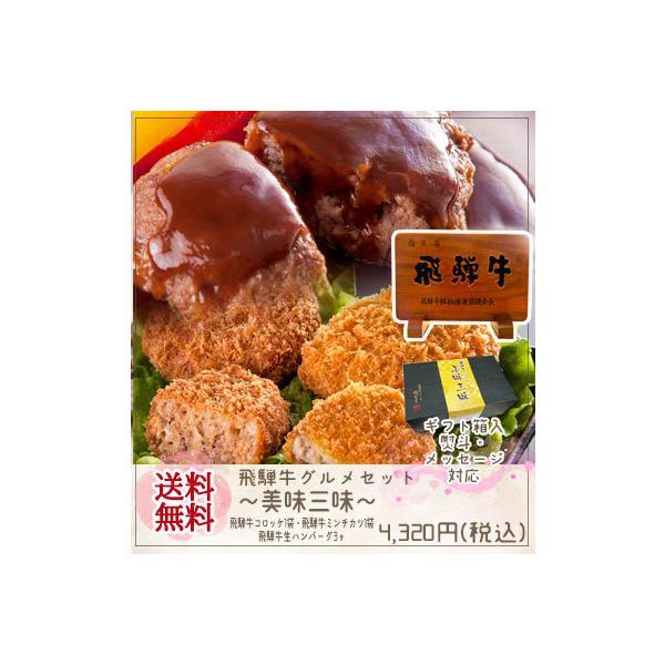 肉 牛肉 和牛 飛騨牛 美味三味 コロッケ ミンチ ハンバーグ 御礼 御祝 内祝 惣菜 プレゼント お取り寄せ グルメ