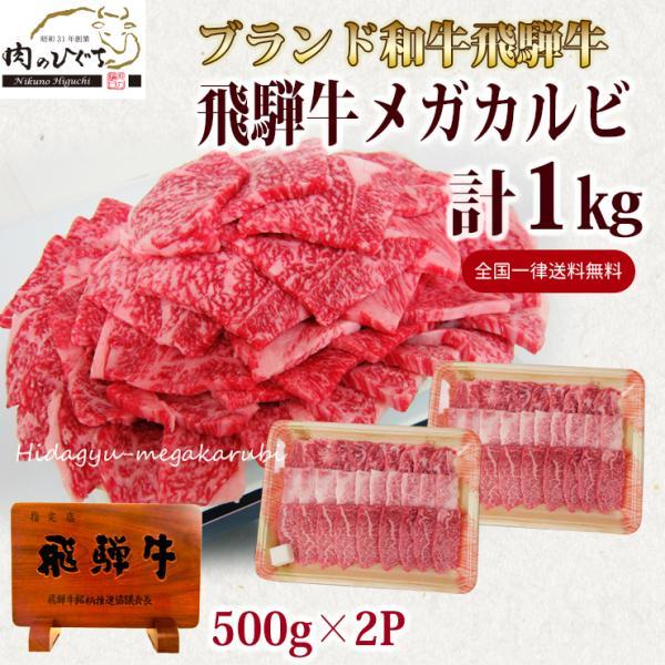 牛肉 焼肉 飛騨牛 メガ盛カルビ1kg 500g×2p 約3〜4人 大容量 肉 バーベキューセット 和牛 国産 焼き肉 送料無|nikunohiguchi-yafuu