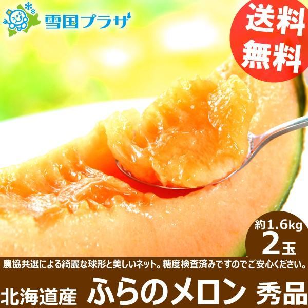【2022年/予約】お中元 メロン ふらのメロン 2玉 (JAふらの共撰 秀品 1玉 1.6kg) 北海道メロン 赤肉メロン 送料無料 ギフト 暑中お見舞い 残暑お見舞い