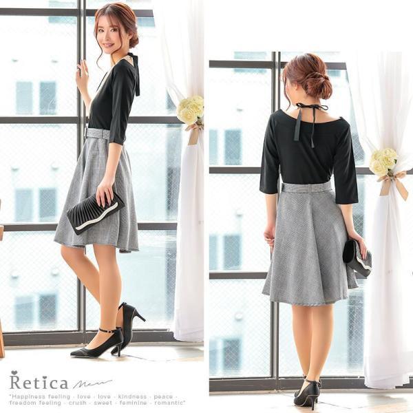 ワンピース レディース ドッキングワンピース 切り替え バイカラー Aライン ベルト付き 半袖 7分袖 フレア Sサイズ Mサイズ Lサイズ 白 ネイビー|nina-happy-casual|06