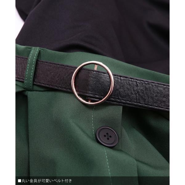 ワンピース レディース きれいめ バイカラー ドッキングワンピース Aライン 膝丈 ワンピ 大きいサイズ グリーン 緑 レッド 赤 キャメル|nina-happy-casual|05