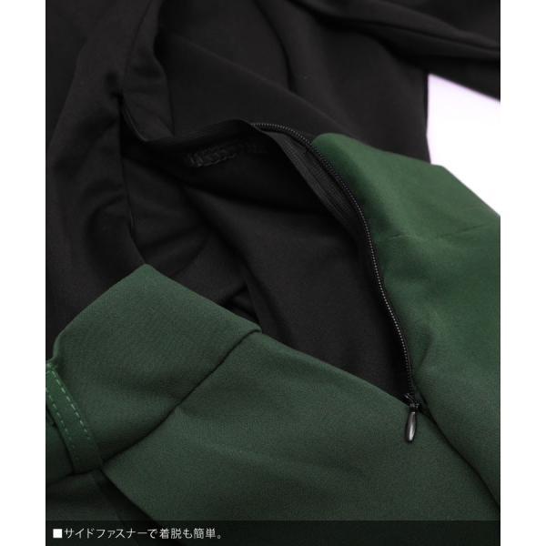 ワンピース レディース きれいめ バイカラー ドッキングワンピース Aライン 膝丈 ワンピ 大きいサイズ グリーン 緑 レッド 赤 キャメル|nina-happy-casual|06