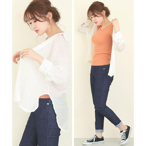 シャツ トップス レディース シンプル オーバーサイズ ガーゼシャツ(ホワイト/ベージュ/ブラック)春|nina-happy-casual|11