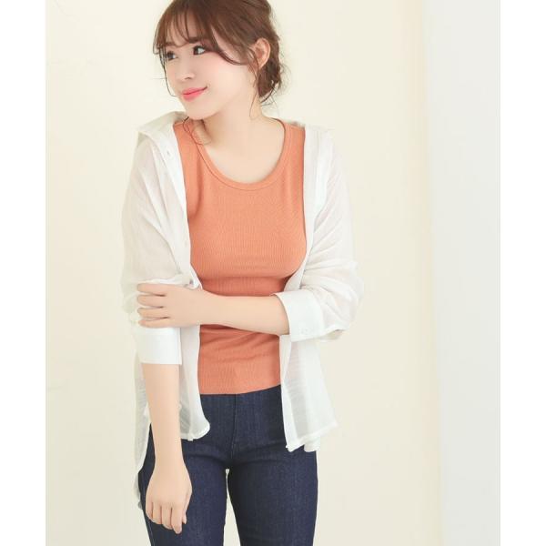 シャツ トップス レディース シンプル オーバーサイズ ガーゼシャツ(ホワイト/ベージュ/ブラック)春|nina-happy-casual|12