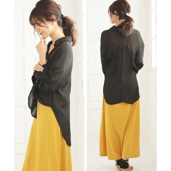 シャツ トップス レディース シンプル オーバーサイズ ガーゼシャツ(ホワイト/ベージュ/ブラック)春|nina-happy-casual|14