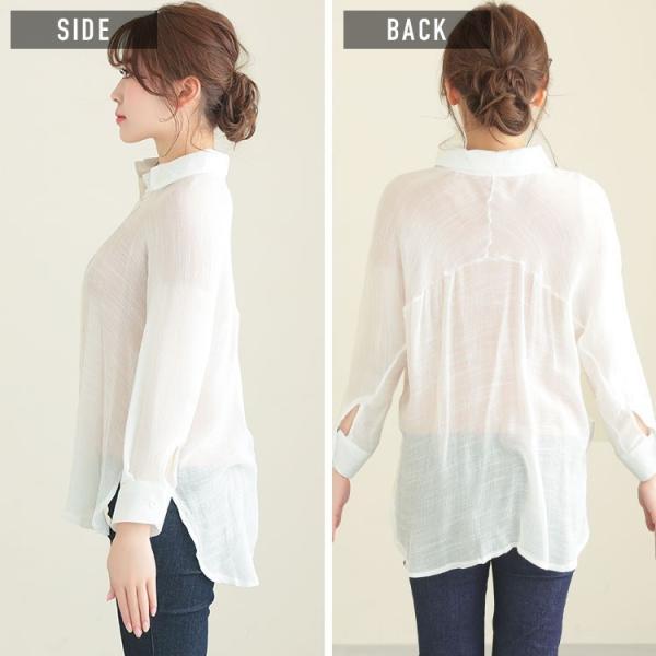 シャツ トップス レディース シンプル オーバーサイズ ガーゼシャツ(ホワイト/ベージュ/ブラック)春|nina-happy-casual|07