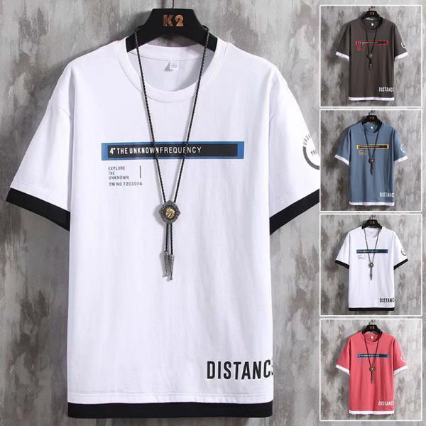 Tシャツ夏服メンズティーシャツ半袖Tシャツ綿トップスクルーネックファッション夏フェイクレイヤード