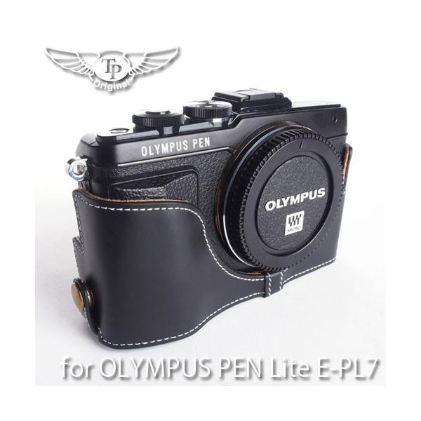 TP Original ティーピー オリジナル Leather Camera Body Case レザーケース for OLYMPUS PEN Lite E-PL7 おしゃれ 本革 カメラケース Oil Black