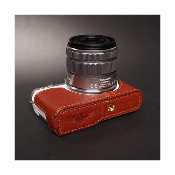 TP Original Leather Camera Body Case レザーケース for Panasonic LUMIX GF7 おしゃれ 本革 カメラケース Brown(ブラウン)