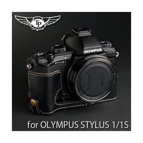 TP Original ティーピー オリジナル Leather Camera Body Case レザーケース for OLYMPUS STYLUS 1/1s  おしゃれ 本革 カメラケース Oil Black(オイル ブラック)