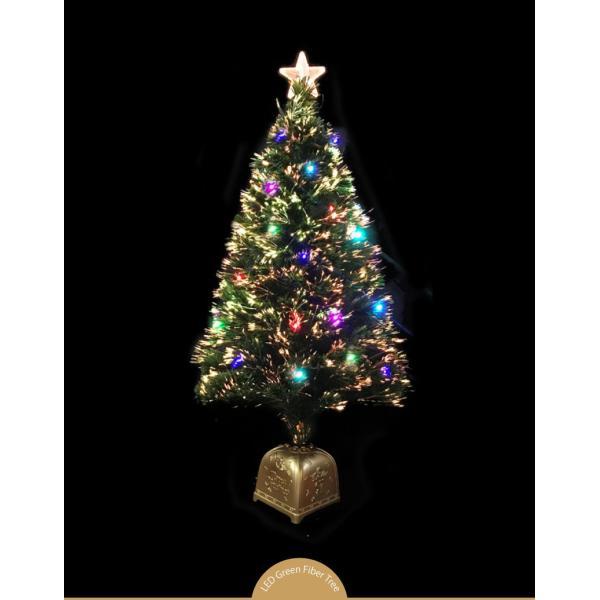 クリスマスツリー 北欧 グリーンファイバーツリー120cm(マルチLED24球付) 飾り|ningyohonpo|02