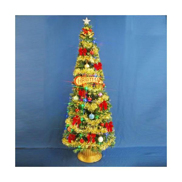 クリスマスツリー 北欧 ファイバーツリー 210cmグリーンファイバーツリーセット12 マルチLED54球付 飾り|ningyohonpo