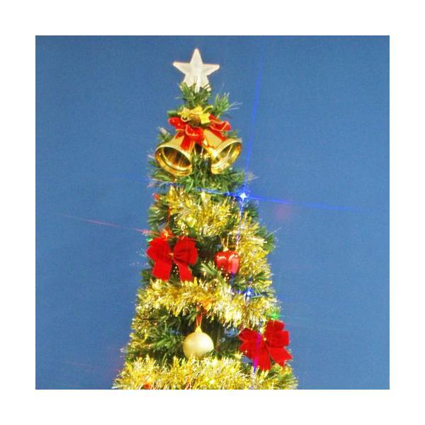 クリスマスツリー 北欧 ファイバーツリー 210cmグリーンファイバーツリーセット12 マルチLED54球付 飾り|ningyohonpo|02