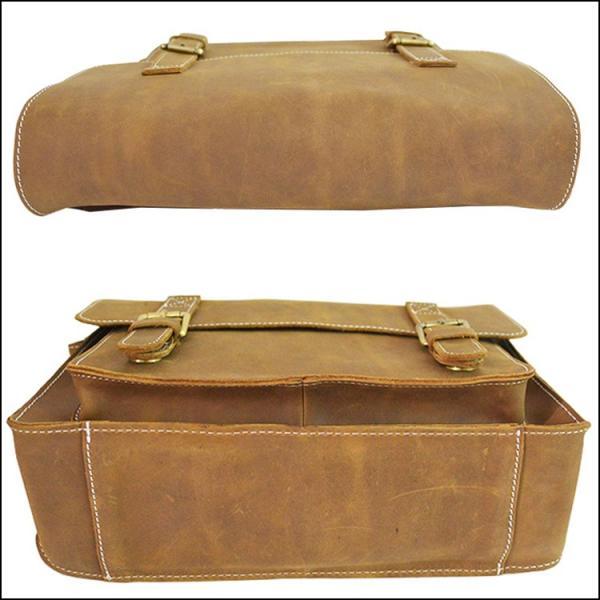 本革 ショルダーバッグ A4 メンズ レザー アンティーク メッセンジャーバッグ カジュアル鞄 iPad対応 オレンジ 通学鞄