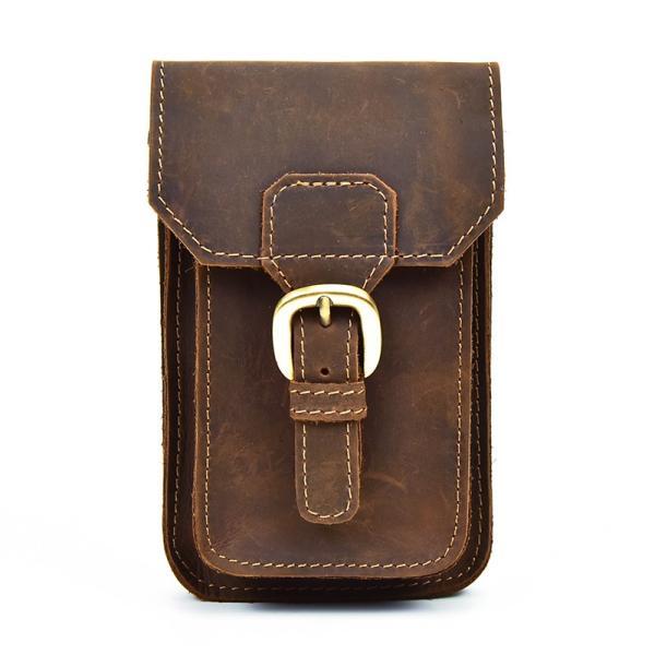 ウエストバッグ メンズ 縦型 本革 ウエストポーチ 二色 ブラウン ダークブラウン ベルトバッグ ベルトポーチ 携帯、財布収納