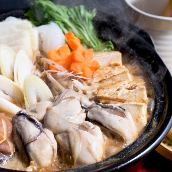 広島産かきの土手鍋セット 〔冷凍かき400g・調味みそ・冷凍うどん230g×2〕 送料無料 ポイント消化