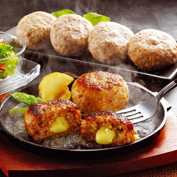宮崎県産合挽き肉のチーズ入り生ハンバーグ 8個 詰合せ ハンバーグ 惣菜 冷凍 チーズインハンバーグ  国産