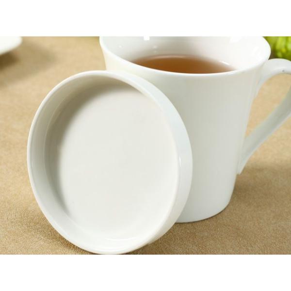 マグカップ 蓋付き 320ml  白磁 おしゃれ レンジOK シンプル ホワイト 珈琲 紅茶|nishida-store|04
