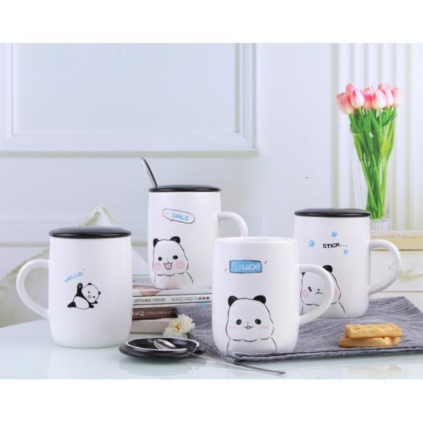 ふた付きマグカップ(パンダ 熊猫 600ml) 蓋付き マドラー付き 陶器製 可愛い お洒落 大容量 コーヒー 紅茶 ジュース牛乳 カフェオレ|nishida-store