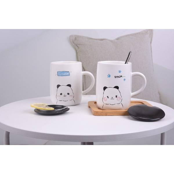 ふた付きマグカップ(パンダ 熊猫 600ml) 蓋付き マドラー付き 陶器製 可愛い お洒落 大容量 コーヒー 紅茶 ジュース牛乳 カフェオレ|nishida-store|02