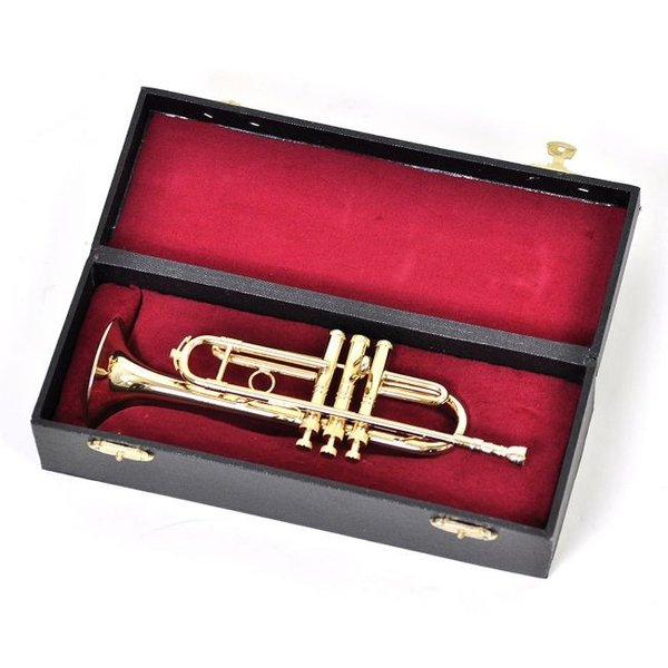 ミニチュア楽器(フィギュア)トランペットカラーゴールド金属1/4(18cm)サンライズサウンドハウス(飾り物で音は出ません)