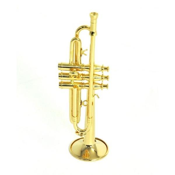 ミニチュア楽器(フィギュア)トランペットカラーゴールド金属1/6(12cm)サンライズサウンドハウス(飾り物で音は出ません)