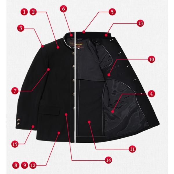 学生服上下セット ポリエステル100%/ラウンド襟 黒 A体/145A-190A/W58cm-W110cm|nishiki|02