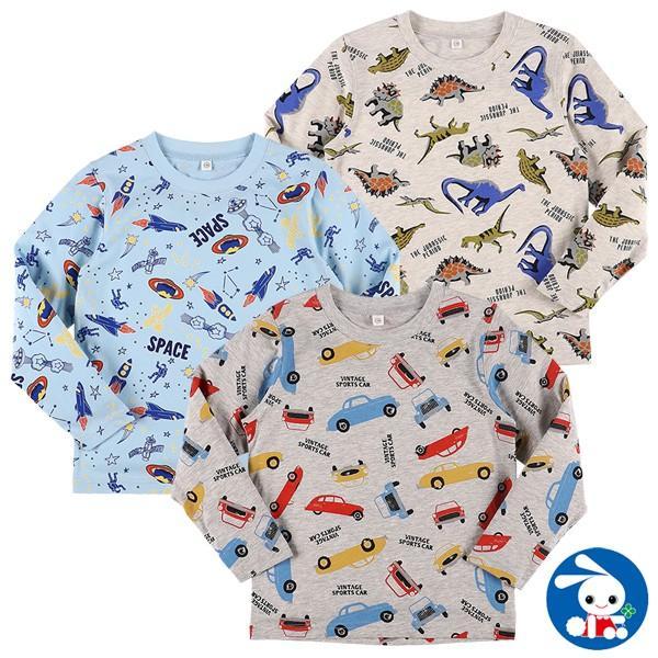 子供服 男の子 長袖Tシャツ(恐竜・宇宙・くるま) 100cm・110cm・120cm キッズ ジュニア 男児 ベビー 小児 児童 子ども服 おしゃれ