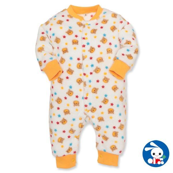 ベビー服 男の子 冬 フリースくまプリントカバーオール 70cm・80cm 赤ちゃん ベビー 新生児 乳児 幼児 子供服 おしゃれ|nishimatsuya