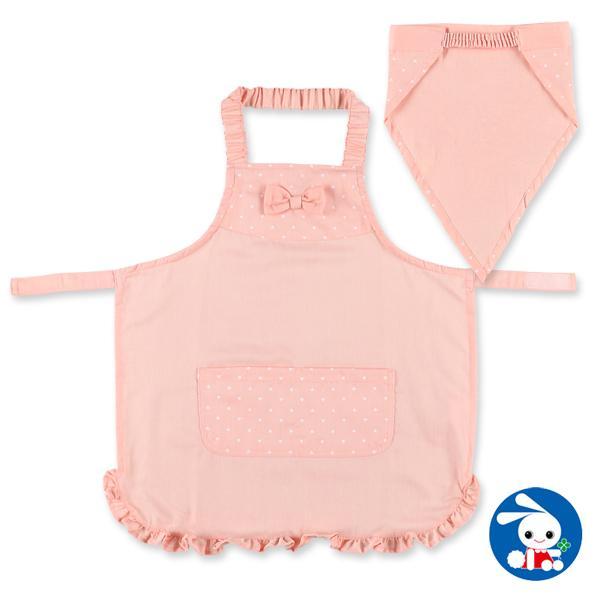 子供服 女の子 三角巾付きエプロン(ハートドット) 110cm・130cm