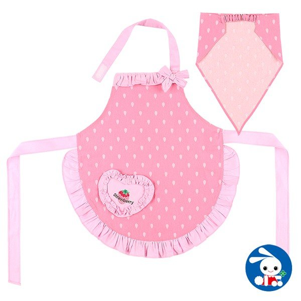 子供服 女の子 三角巾付きエプロン(イチゴ&フリル) 110cm・130cm