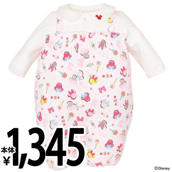 ベビー服 新生児 春秋冬 スムースサロペット風長袖コンビドレス(ミニー) 新生児50-60cm 男の子 女の子 赤ちゃん ベビー 乳児 幼児 子供服 おしゃれ