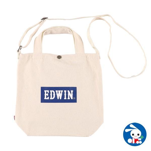 EDWIN)2WAY ボックスロゴトートバッグ(ホワイト×ネイビー)|nishimatsuya