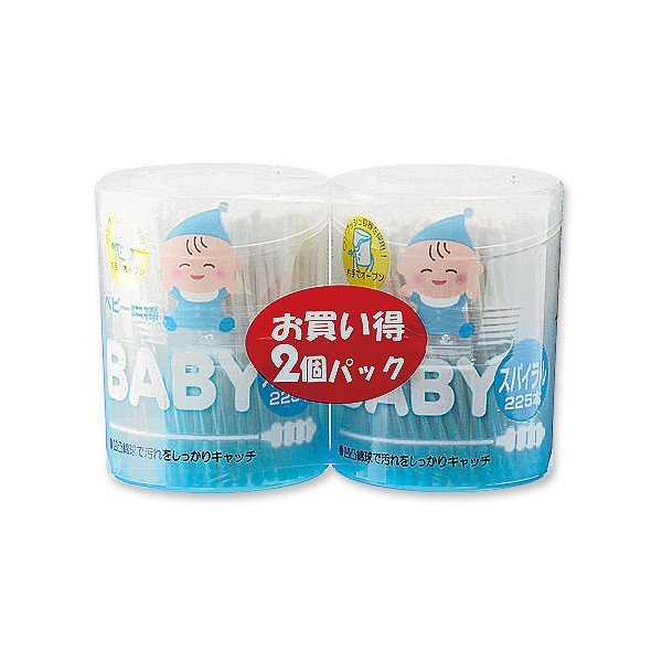 抗菌ベビー綿棒 スパイラル2個パック|nishimatsuya|02