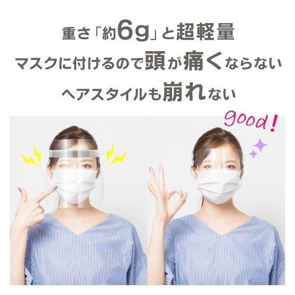 フェイスシールド 日本製 50枚 即日発送 フェイスガード 超軽量 国内発送 マスク装着タイプ 目立たない ウィルス対策 飛散防止 特許出願済 アイガード メール便 nishisato 04