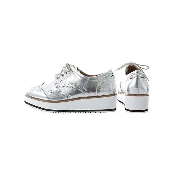 大きいサイズ レディース プラットフォームオックスフォードシューズ(低反発中敷)(ワイズ4E) 春 靴 26.0〜26.5cm ニッセン