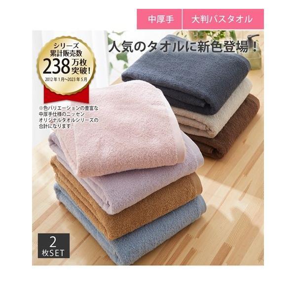 バスタオル 肌ざわりいい 中厚手 大判 同色2枚セット デイリーシリーズ 約90×150cm ニッセン nissen
