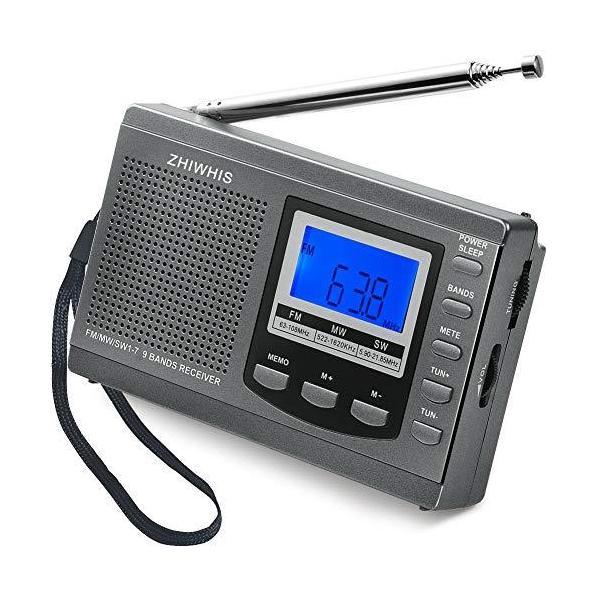 ZHIWHISラジオ小型ポータブルFM/AM/SWワイドfm対応高感度受信クロックラジオスピーカーとイヤホン付きタイマー機能US