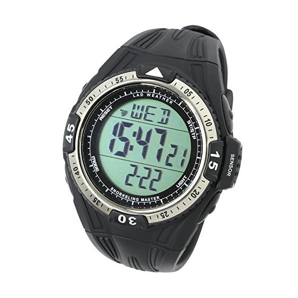 LADWEATHER ダイバーズウォッチ水深計水温計海海水浴潜水アウトドア時計シュノーケリング腕時計(ブラック(通常液晶))