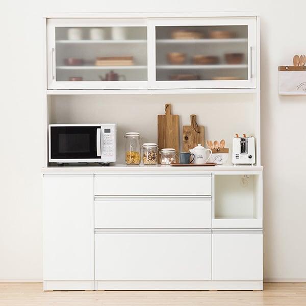 食器棚(レジューム 150TG-S WH/150QL-R WH) ニトリ 『配送員設置』 『5年保証』