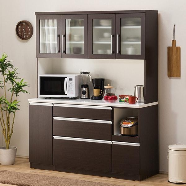 食器棚(レジューム 150TG-H DBR/150SL-R DBR) ニトリ 『配送員設置』 『5年保証』