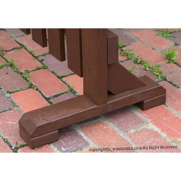 木製ピケットフェンス 幅120cm ブラウン 1個セット niwazakka 03