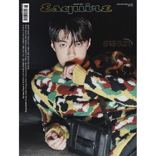 ★折り畳みポスター+ブックポーチ付録付き★韓国男性雑誌 Esquire (エスクァイア) 2021年 8月号 (EXOのセフン表紙選択 Bタイプ/2PMのジュノ記事)