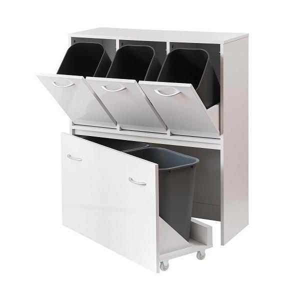 ダストボックス 5分別 ホワイト色 キッチンシリーズface ゴミ箱 fy-0029|nkagu-store|02