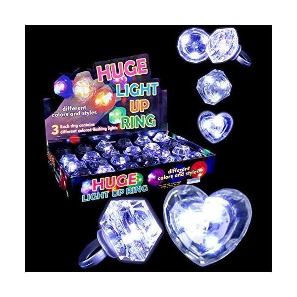 Fun Central M764 LED Light Up Diamond Bling Rings - LED Ring, Flashing Rin