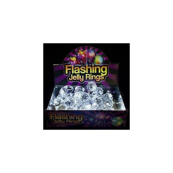Fun Central AD627 LED Flashing Jelly Bumpy Rings - White 48ct Light Up