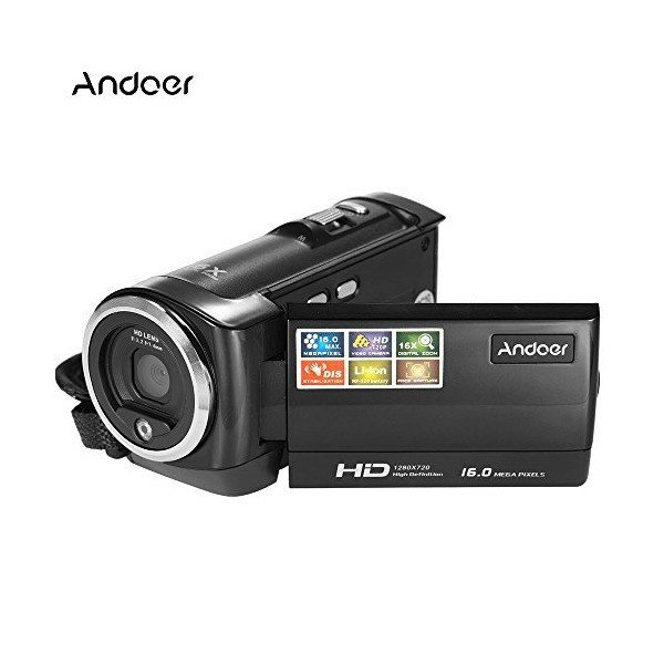 Andoer HDV-107 Digital Video Camcorder Camera HD 720P 16MP DVR 2.7'' TFT L